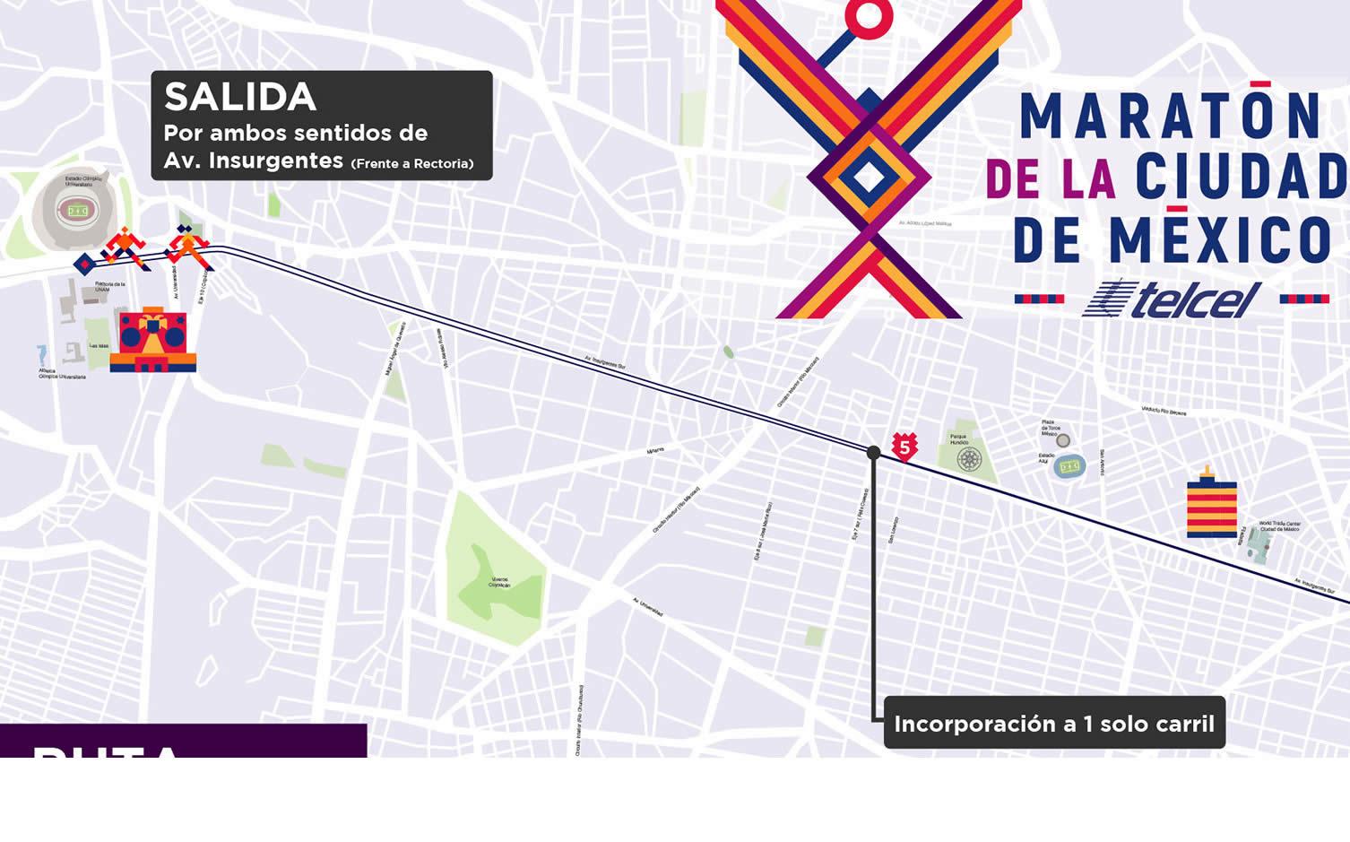 1 ruta maratón de la ciudad de México hasta kilómetro 5