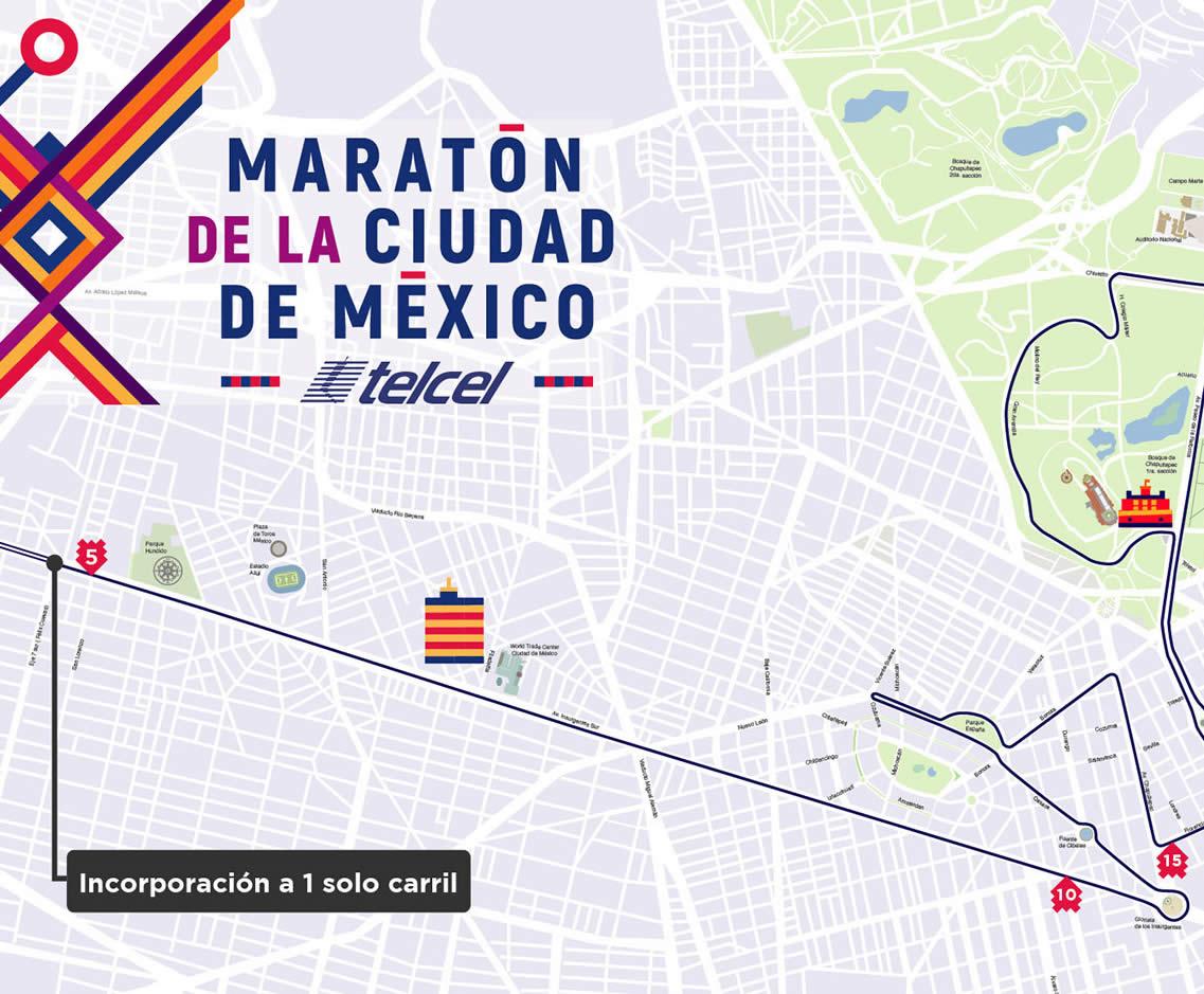 2 ruta maratón de la ciudad de México hasta kilómetro 5