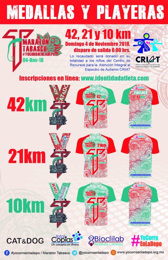 medallas y playeras maraton de tabasco