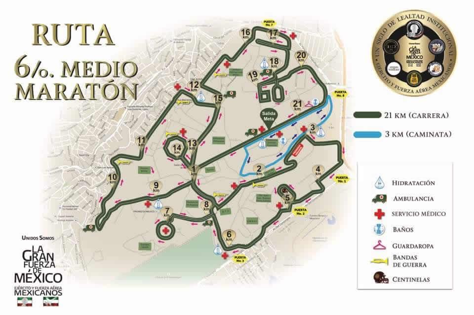 ruta 6to medio maraton sedena