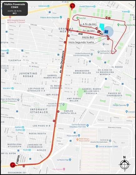 ruta bici Triatlón Powerade Ciudad de México 2018