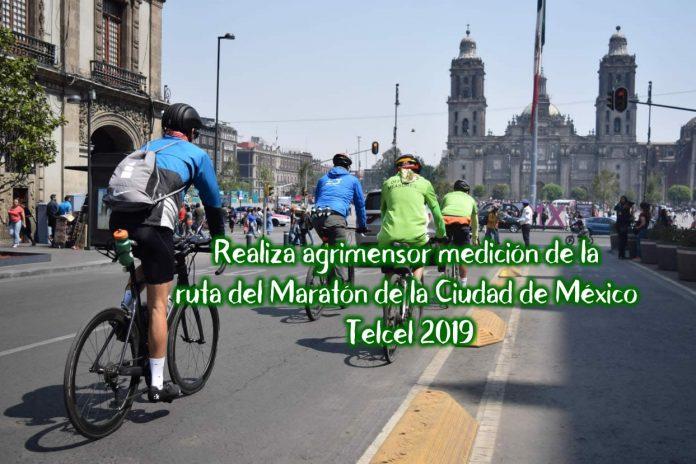Realiza agrimensor medición de la ruta del Maratón de la Ciudad de México Telcel 2019