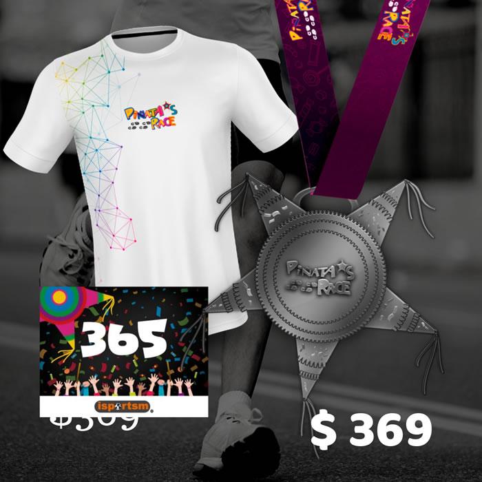 playera y medalla Piñatas Race 2019